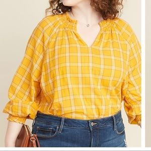 Yellow plaid blouse Brand new with tags 3x